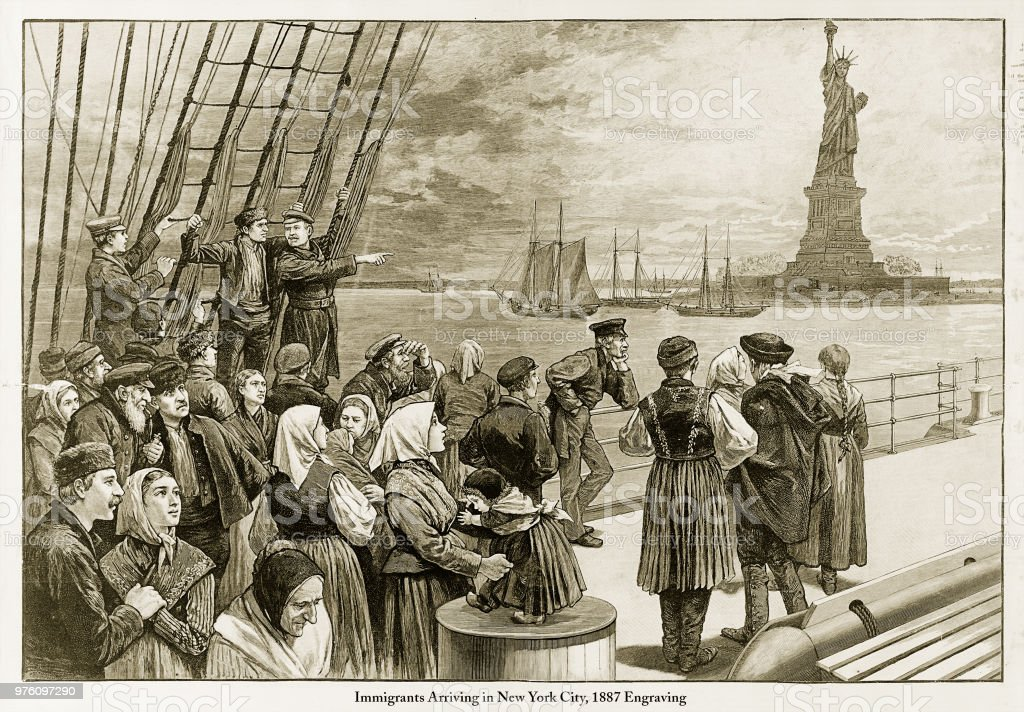 Immigrants Arriving in New York City, 1887 Engraving vector art illustration