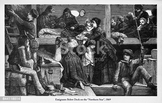 """Beautifully Illustrated Antique Engraved Victorian Illustration of Immigrants Below Deck on """"Northern Star"""", 1869 Engraving. Source: Original edition from my own archives. Copyright has expired on this artwork. Digitally restored."""