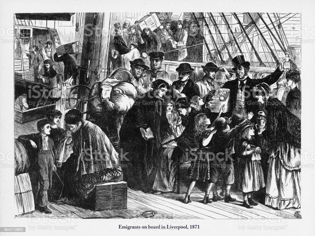 Immigrants Boarding a Ship in Liverpool to America, 1871 Engraving vector art illustration