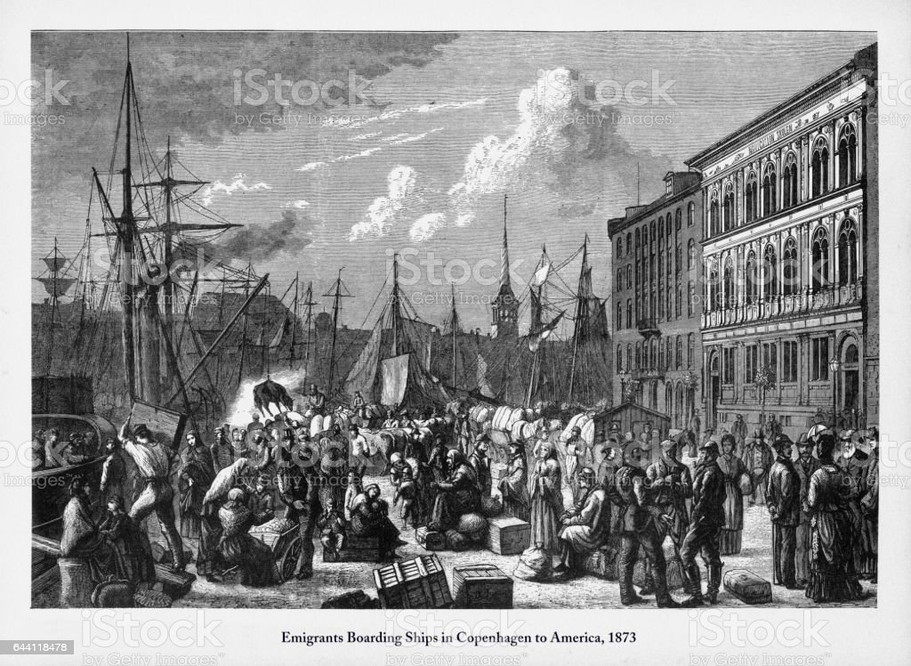 Immigrants Boarding a Ships in Copenhagen to America, 1873 Engraving vector art illustration