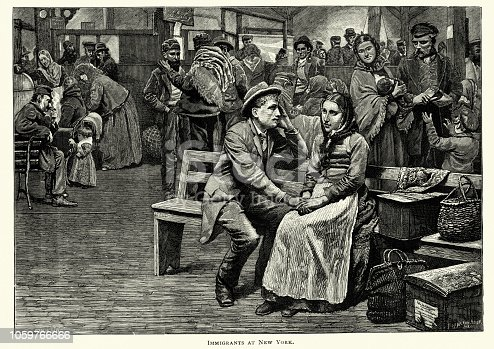 Vintage engraving of Immigrants fresh of the boat, New York, 19th Century