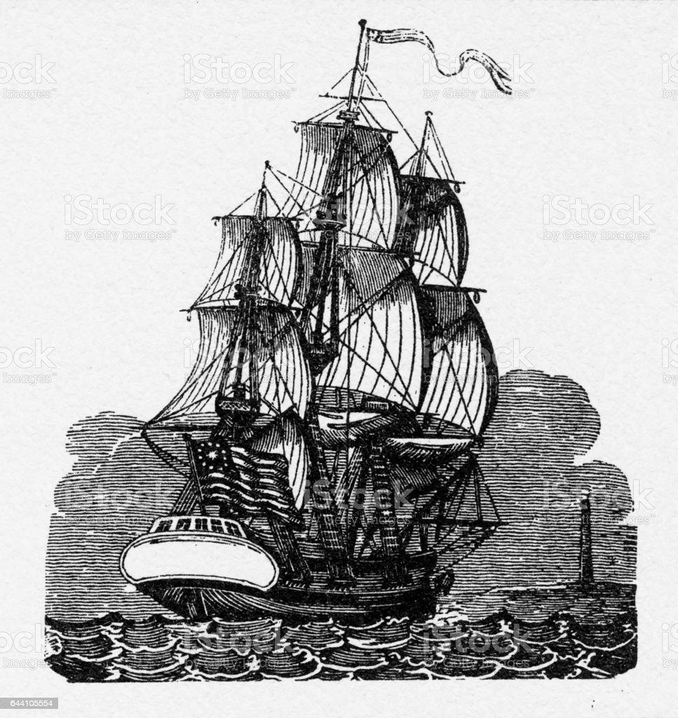 immigrants sailing clipper ship great republic 1855 stock vector