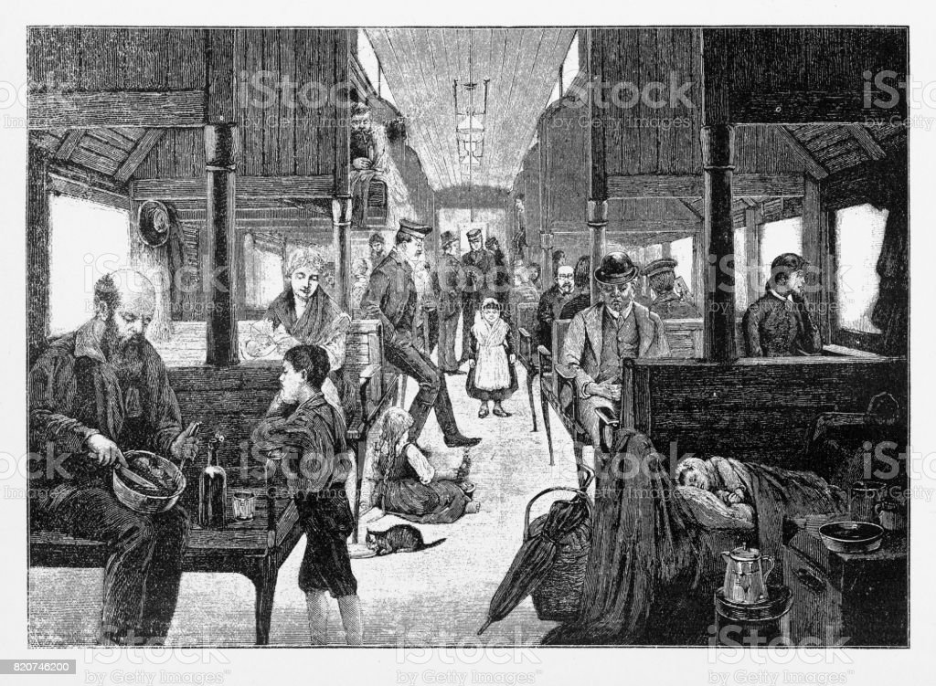 Immigrants Travelling West on Third Class Railway, Early American Engraving, 1870 vector art illustration