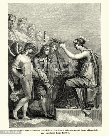 Vintage engraving of Son Genie et Melpomene menat Racine a l'immortalite. Immorality confirmed on the french playwright Jean Racine