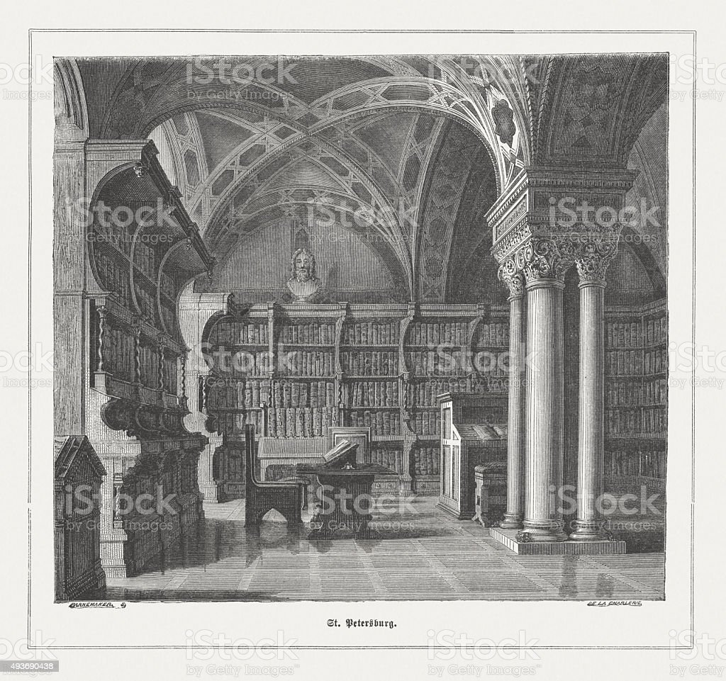 Imperial Public Library in St. Petersburg, published in 1871 vector art illustration