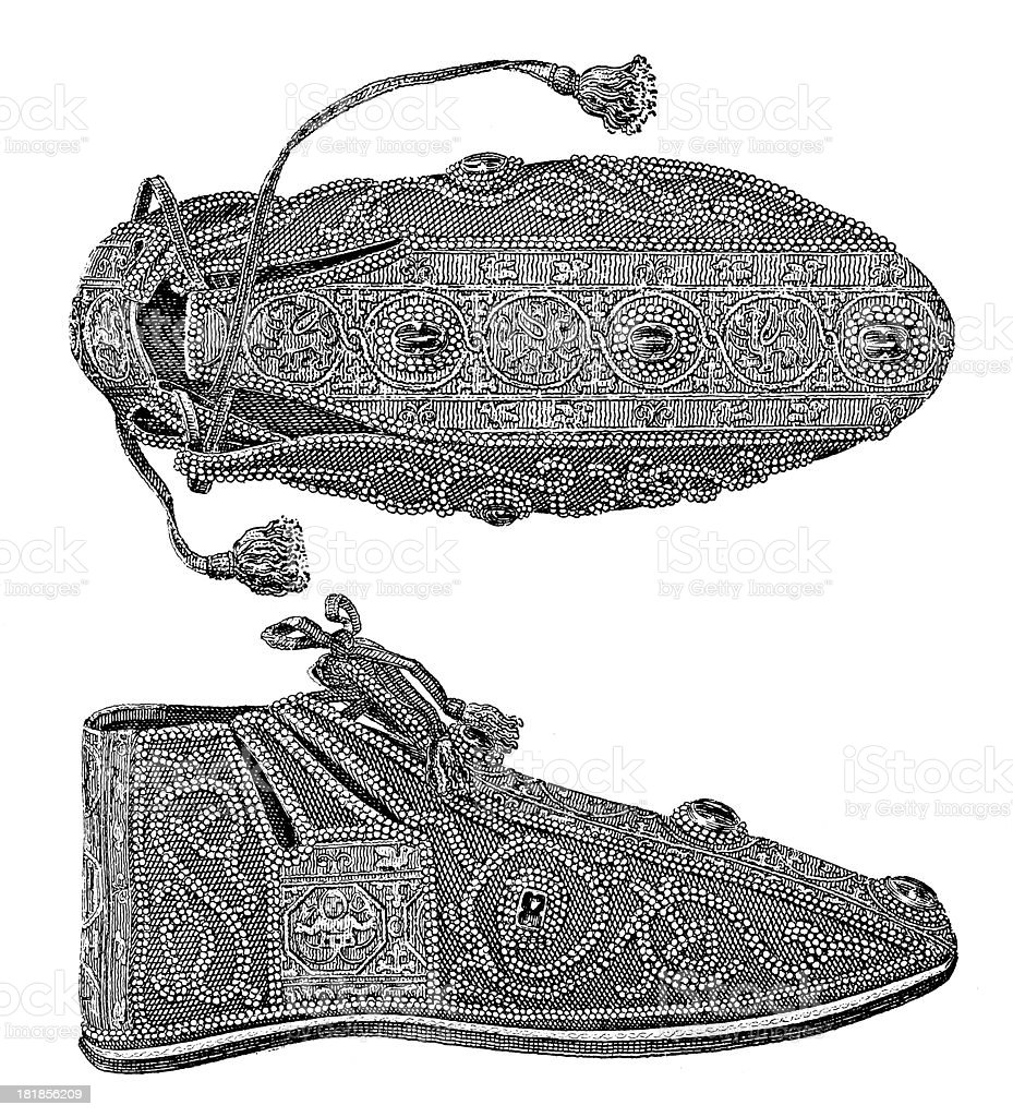 Imperial shoes (antique wood engraving) royalty-free stock vector art