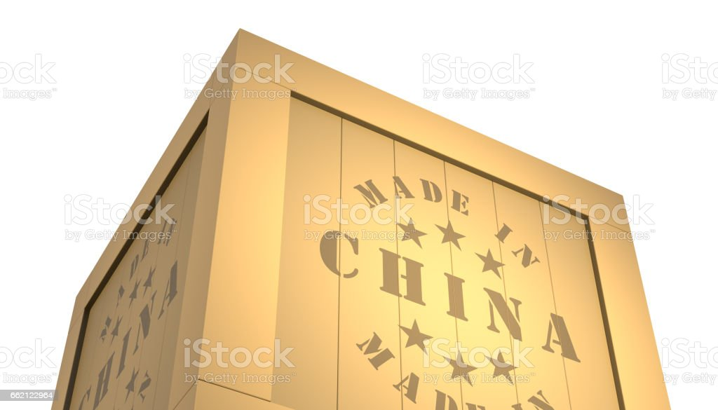 Import - Export Wooden Crate. Made in China. 3D Illustration vector art illustration