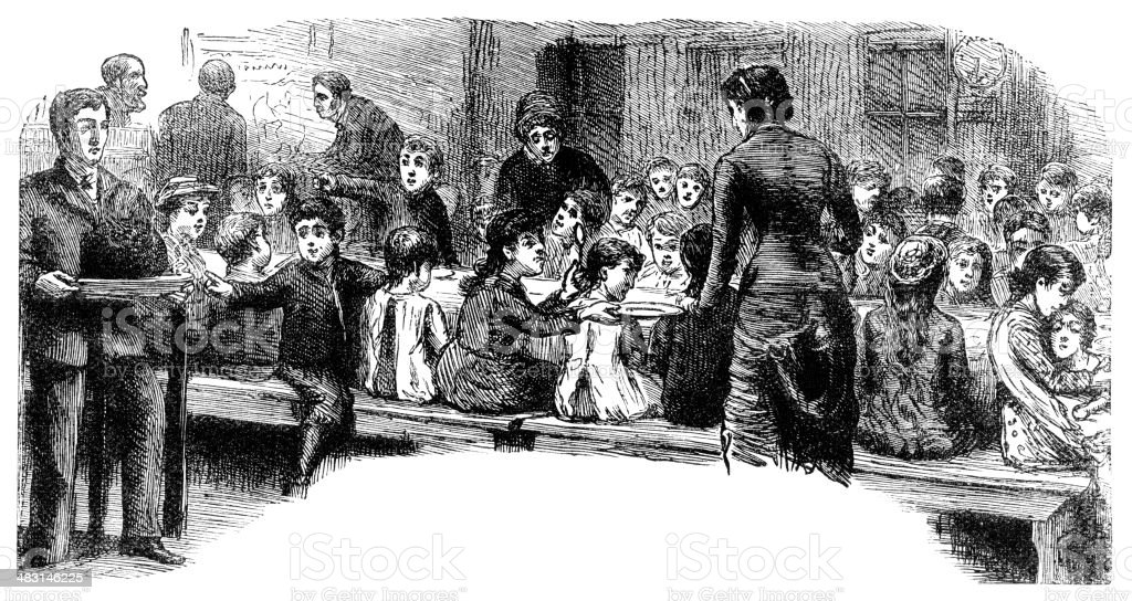Impoverished Victorian people being given a meal royalty-free stock vector art
