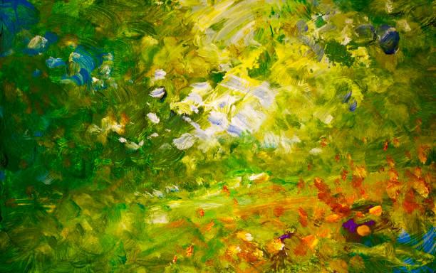 Impressionistic garden landscape painting sketch Hand painted impressionistic garden landscape painting sketch, oil paints on acrylics on board. Leisure, hobbies, art, craft, brush strokes. impressionism stock illustrations
