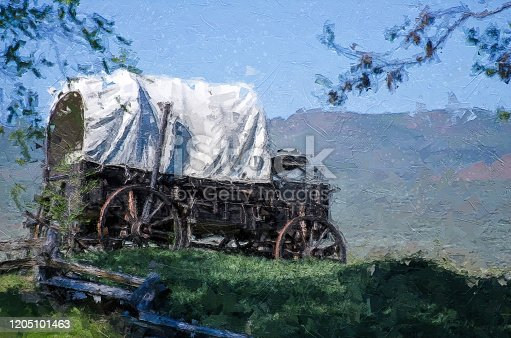 Impressionistic Style Artwork of  a Covered Wagon At The Edge Of The Desert