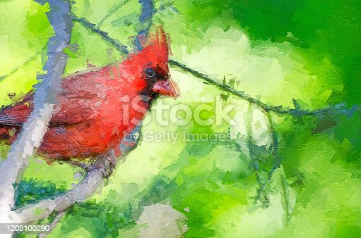 Impressionistic Style Artwork of a Northern Cardinal Perched in a Tree