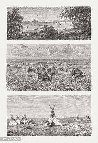 Impressions from North America, wood engravings, published in 1893