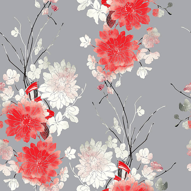 imprints sakura and chrysanthemum vector art illustration