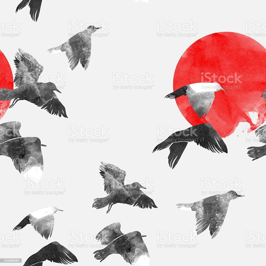 imprints Seagull In the sky vector art illustration