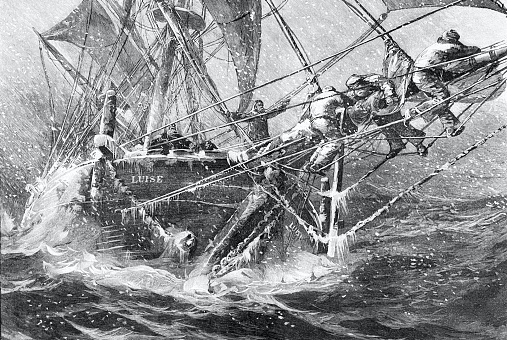In a snow storm on the high seas