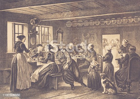 history, vintage, illustration, retro style,  19th Century Style, old, tavern, Denmark
