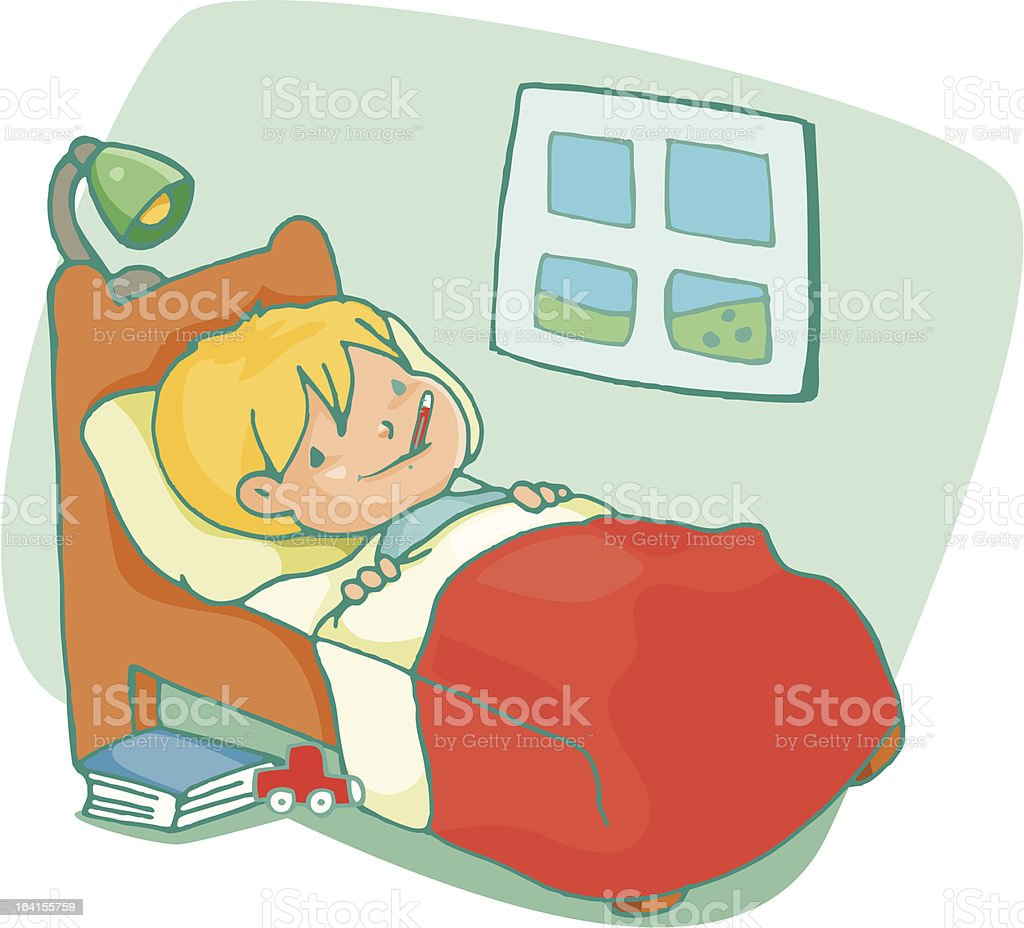 In bed with flu royalty-free in bed with flu stock vector art & more images of bed