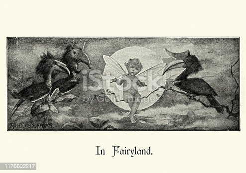 Vintage engraving of a In fairyland, Fairy sat on a branch, 19th Century