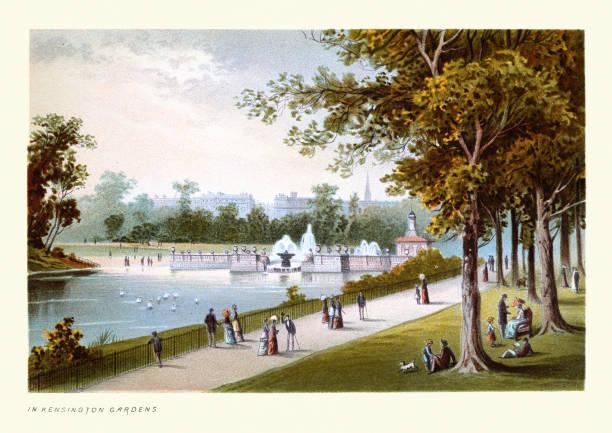 In Kensington Gardens, Victorian London, 19th Century Art print vector art illustration