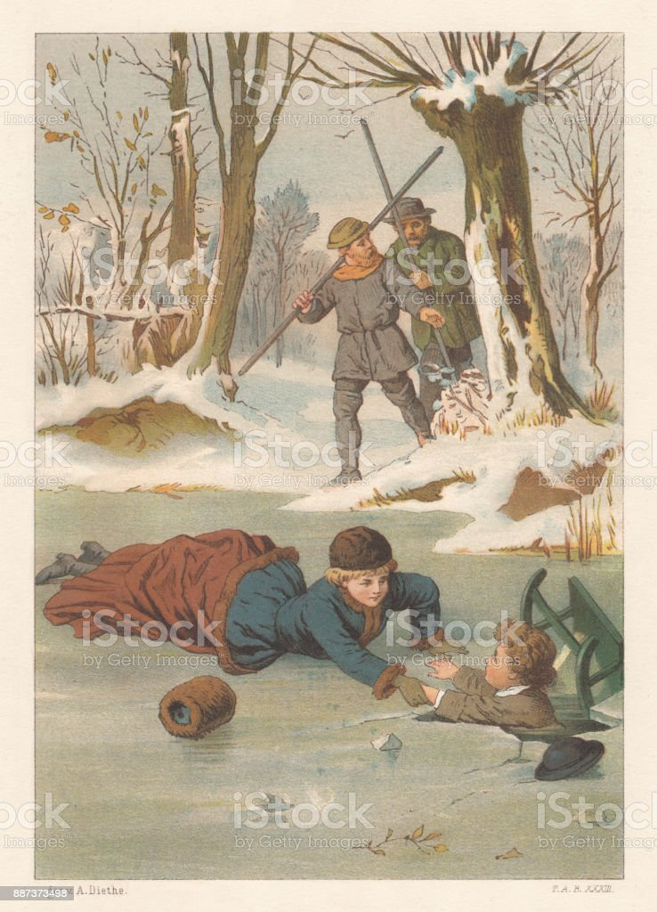 In mortal danger on the ice, lithograph, published in 1887 vector art illustration