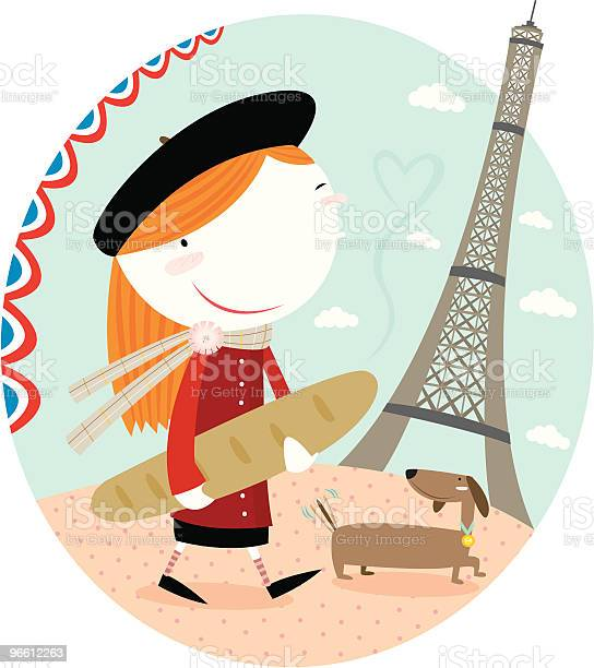 В Париже — стоковая векторная графика и другие изображения на тему Баранка