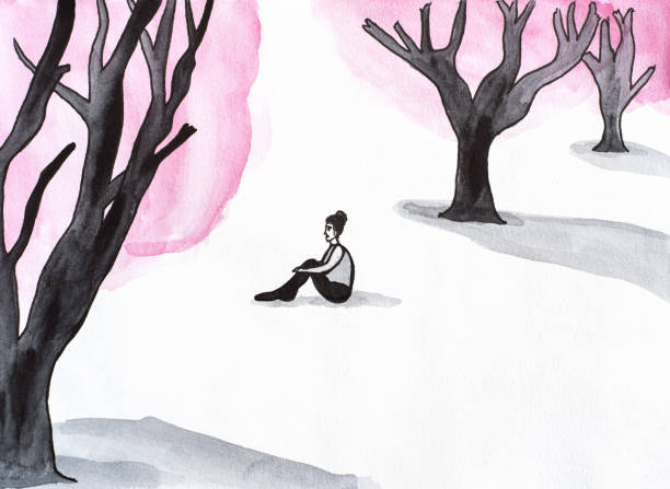 In the forest Watercolor illustration of lonely woman in the forest loneliness stock illustrations