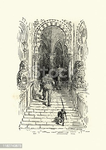Vintage illustration from the story Orlando Furioso. In the Giants castle. Orlando Furioso (The Frenzy of Orlando) an Italian epic poem by Ludovico Ariosto, illustrated by Gustave Dore. The story is also a chivalric romance which stemmed from a tradition beginning in the late Middle Ages.
