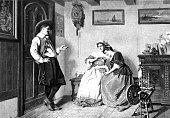 In the living room: Man flirts with two women