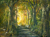 Stone road in magic forest