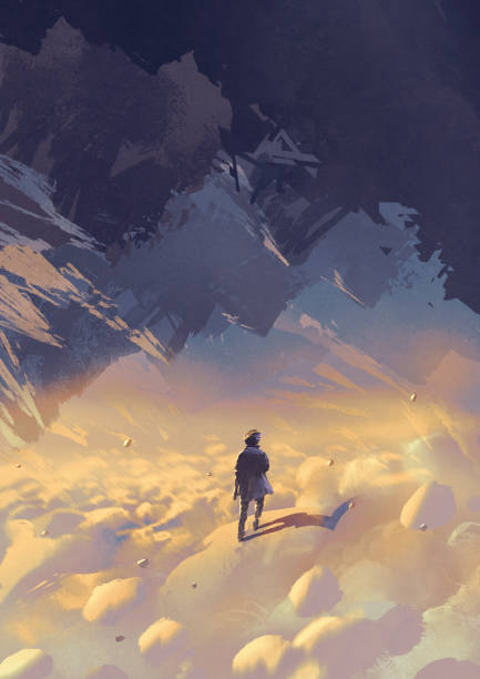 in the upside down world scenery of surreal world showing a man walking on clouds looking at upside-down mountains, digital art style, illustration painting one man only stock illustrations