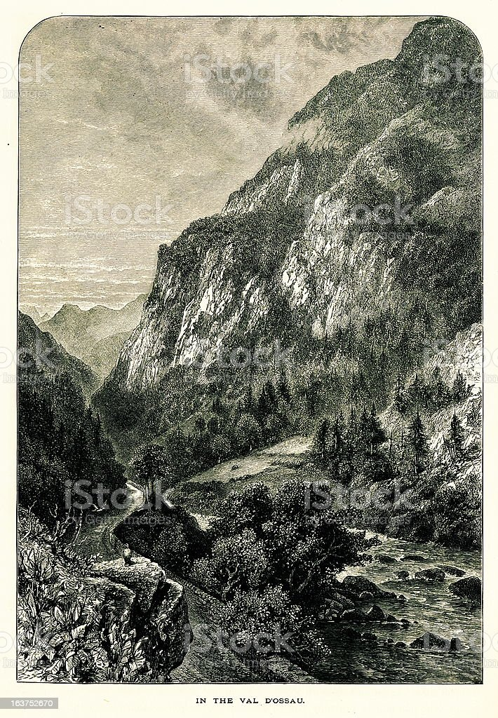 In the Val D'ossau, France I Antique European Illustrations royalty-free stock vector art