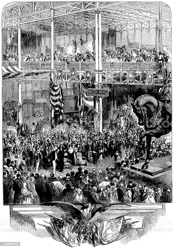 Inauguration of the New York Crystal Palace, Illustrated London News vector art illustration