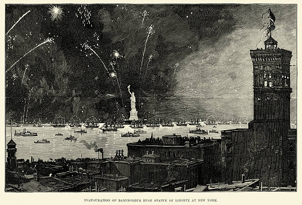Inauguration of the Statue of Liberty, New York, 1886 Vintage engraving of the opening of the Statue of Liberty at New York. 1886, London Illustrated News. inauguration stock illustrations