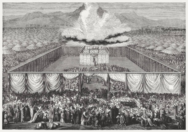 inauguration of the tabernacle (exodus 40), wood engraving, published 1886 - inauguration stock illustrations