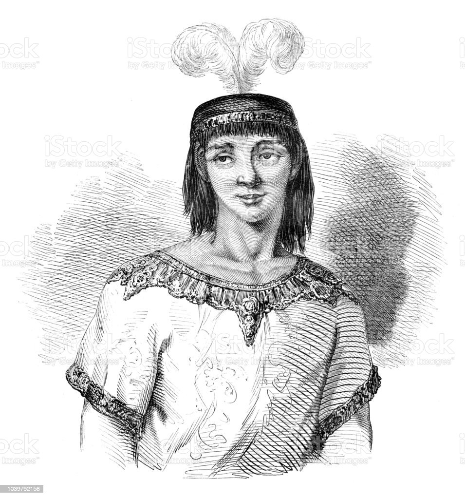 Inca prince in Cuzco Peru 15th century vector art illustration