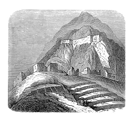 Inca stronghold, South America (antique wood engraving)