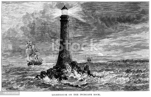 Vintage engraving showing the Inchcape Rock Lighthouse also know as Bell Rock Lighthouse, off the coast of Angus, Scotland