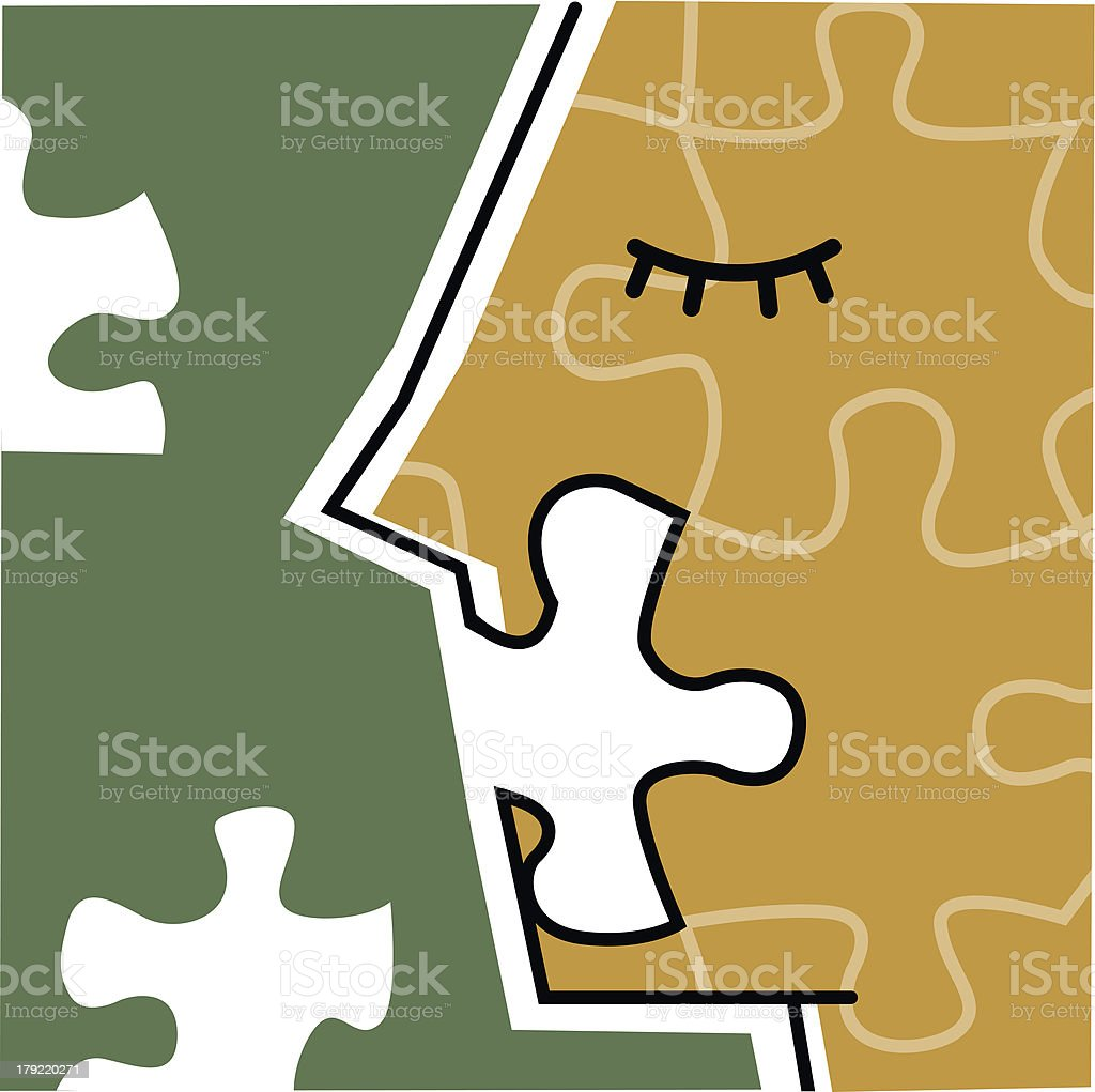 Incomplete puzzle of human face royalty-free stock vector art