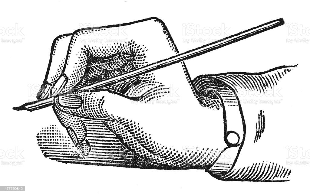 Incorrect mode of holding the pen (antique engraving) vector art illustration