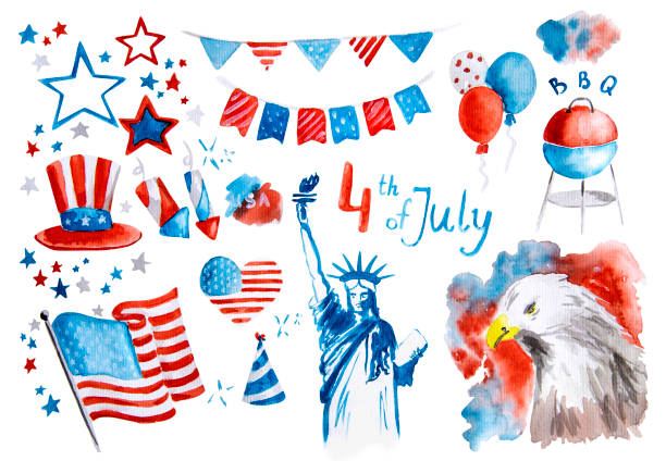 independence day of the usa set of symbol stickers hand drawn watercolor illustration with clipping path isolated on white - fourth of july stock illustrations