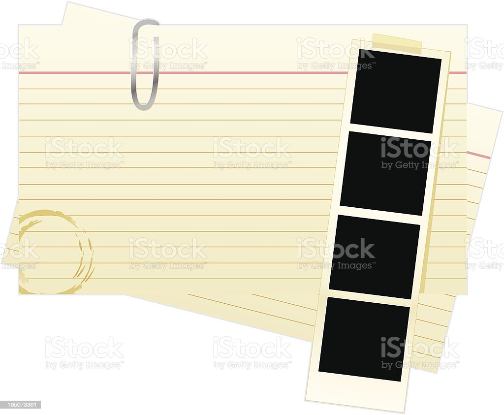 Index Cards with Photostrip royalty-free stock vector art