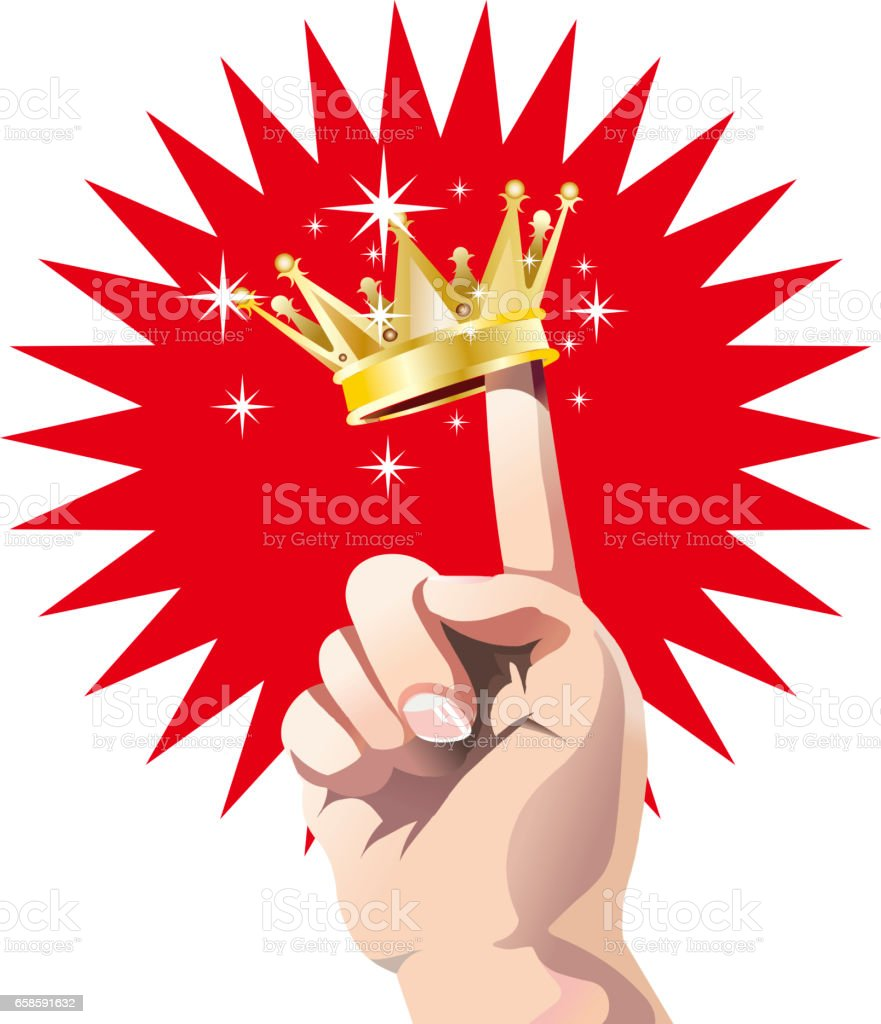 Index finger and Crown vector art illustration