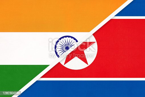 istock India and North Korea or DPRK, symbol of national flags from textile. 1282304195