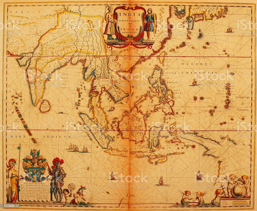 Carte Du Sud Est De Linde.1635 Linde Et Lasie Du Sudestcarte Antique Collection Cliparts