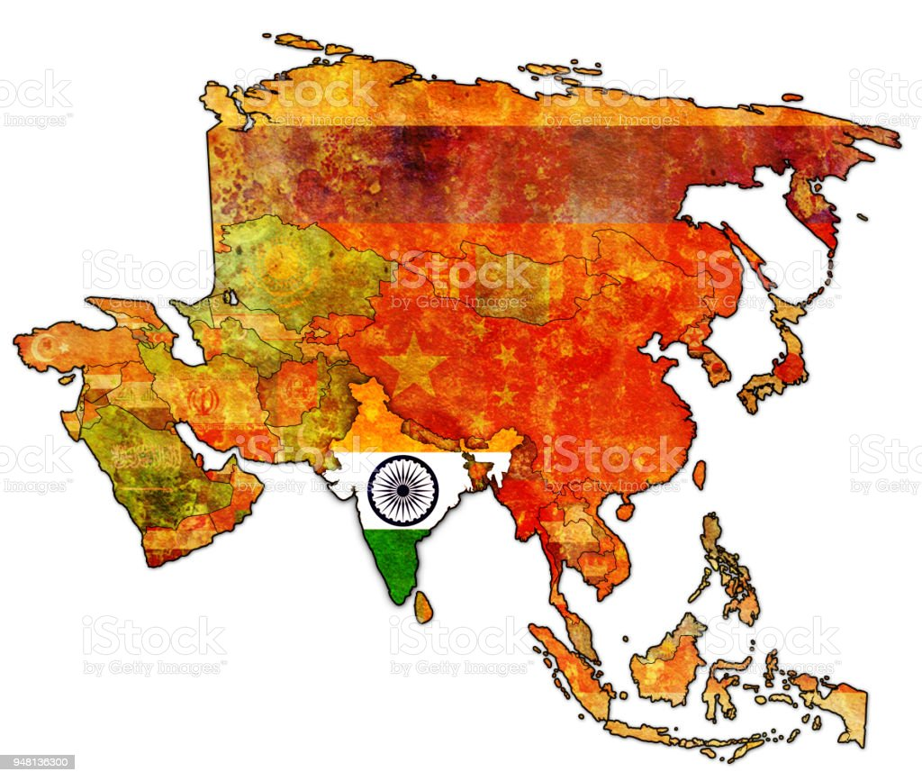 India Map Asia.India Flag On Political Map Of Asia Stock Vector Art More Images