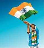 India Waving Flag Soccer Fan