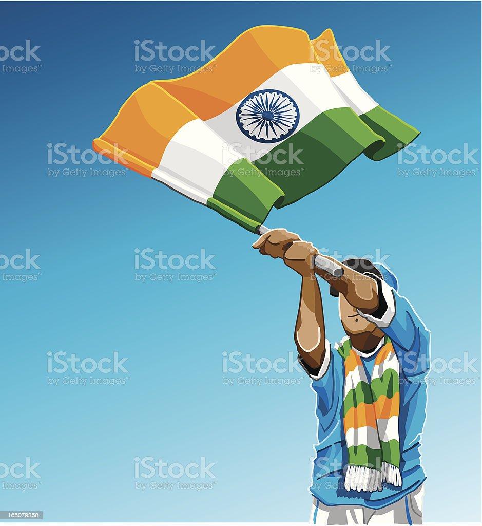 India Waving Flag Soccer Fan vector art illustration