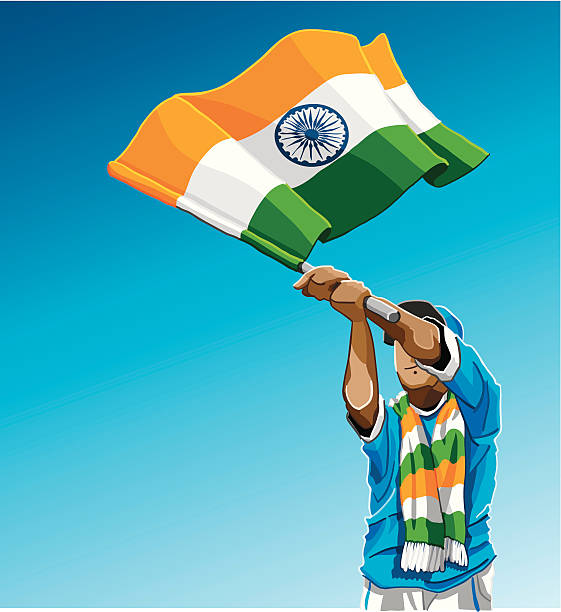 "India Waving Flag Soccer Fan ""Vector Illustration of an Indian soccer fan. The background is on a separate layer, so you can use the illustration on your own background. The colors in the .eps and .ai-files are ready for print (CMYK). Included files: EPS (v8), AI (CS2) and Hi-Res JPG."" sport stock illustrations"