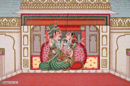 istock Indian couple in the Palace of Delights, Mughal India 1277522878