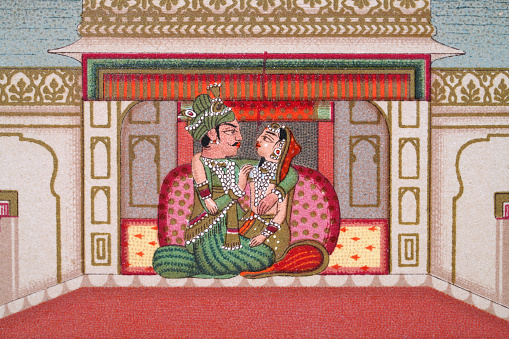 Indian couple in the Palace of Delights, Mughal India